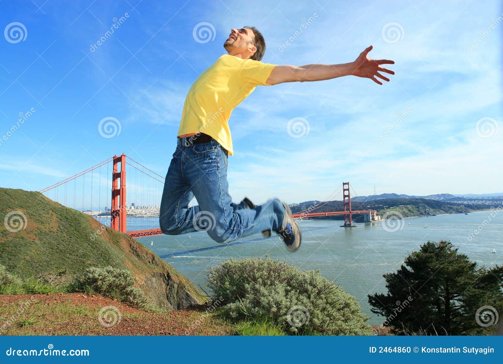 Happy tourist in San Francisco
