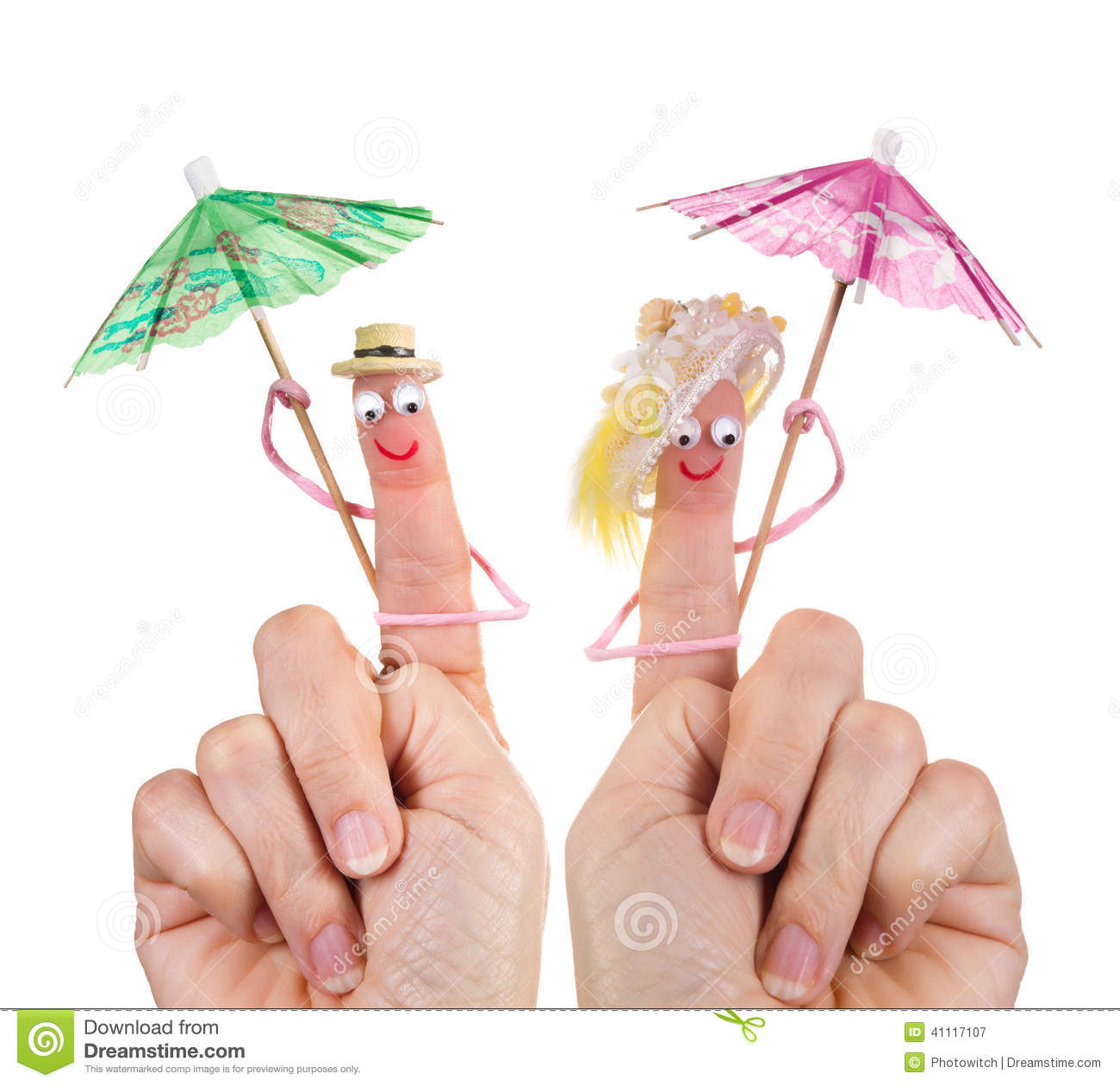 Happy tourists finger puppets
