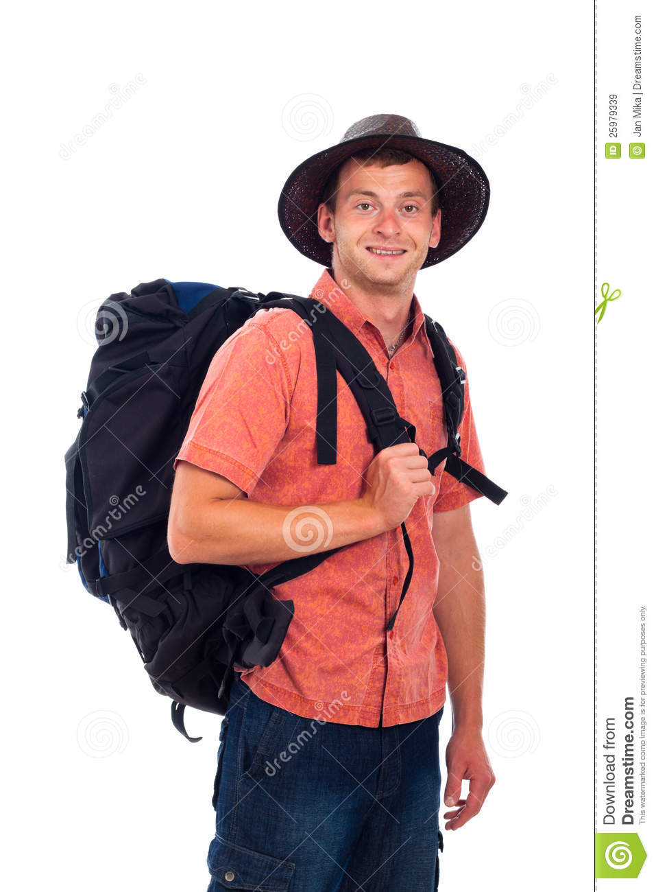 Happy man traveling with backpack, isolated on white background.