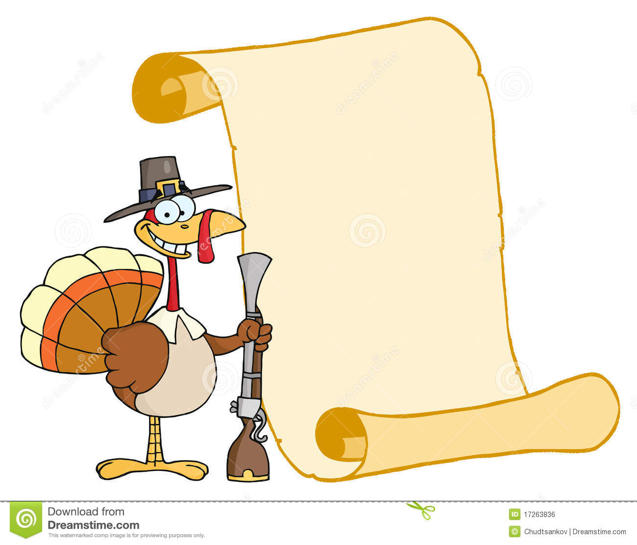 Happy Turkey With Pilgrim Hat And Musket Royalty Free