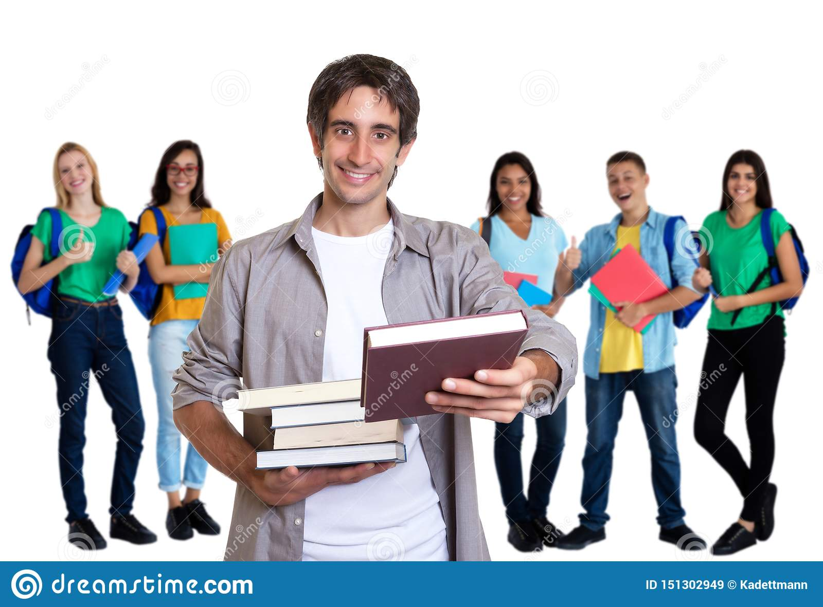 Happy turkish young adult man with other students