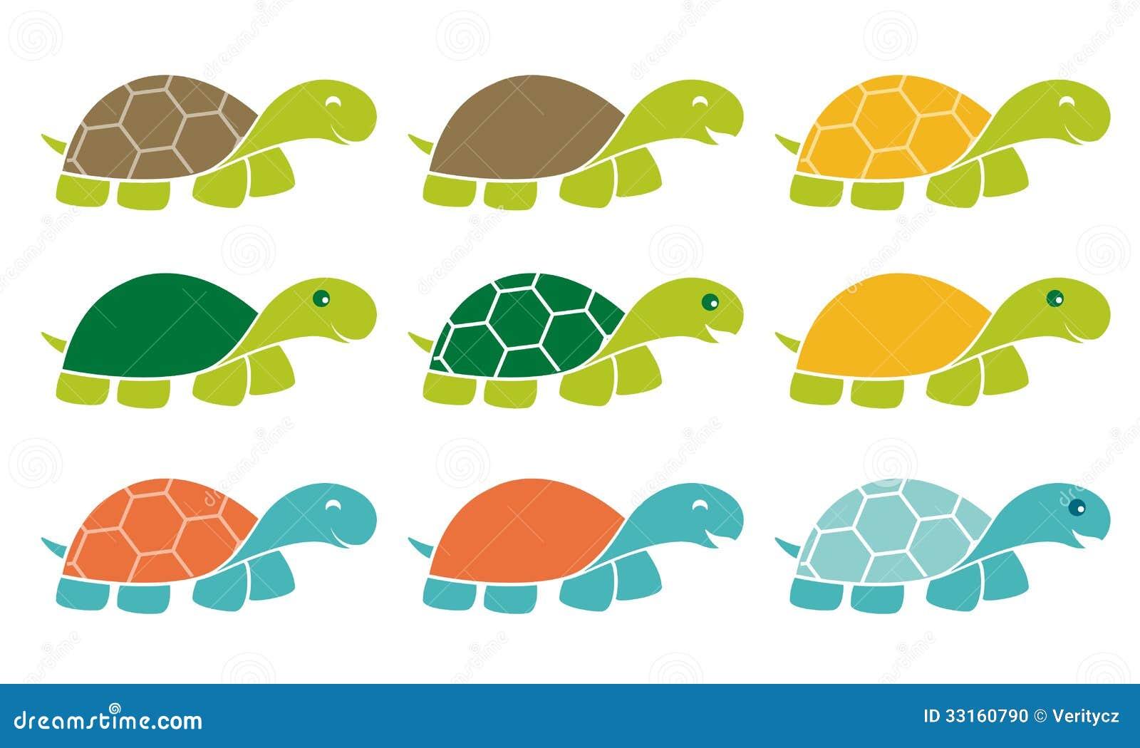 Happy Turtle Icon Logo Set Stock Photo - Image: 33160790