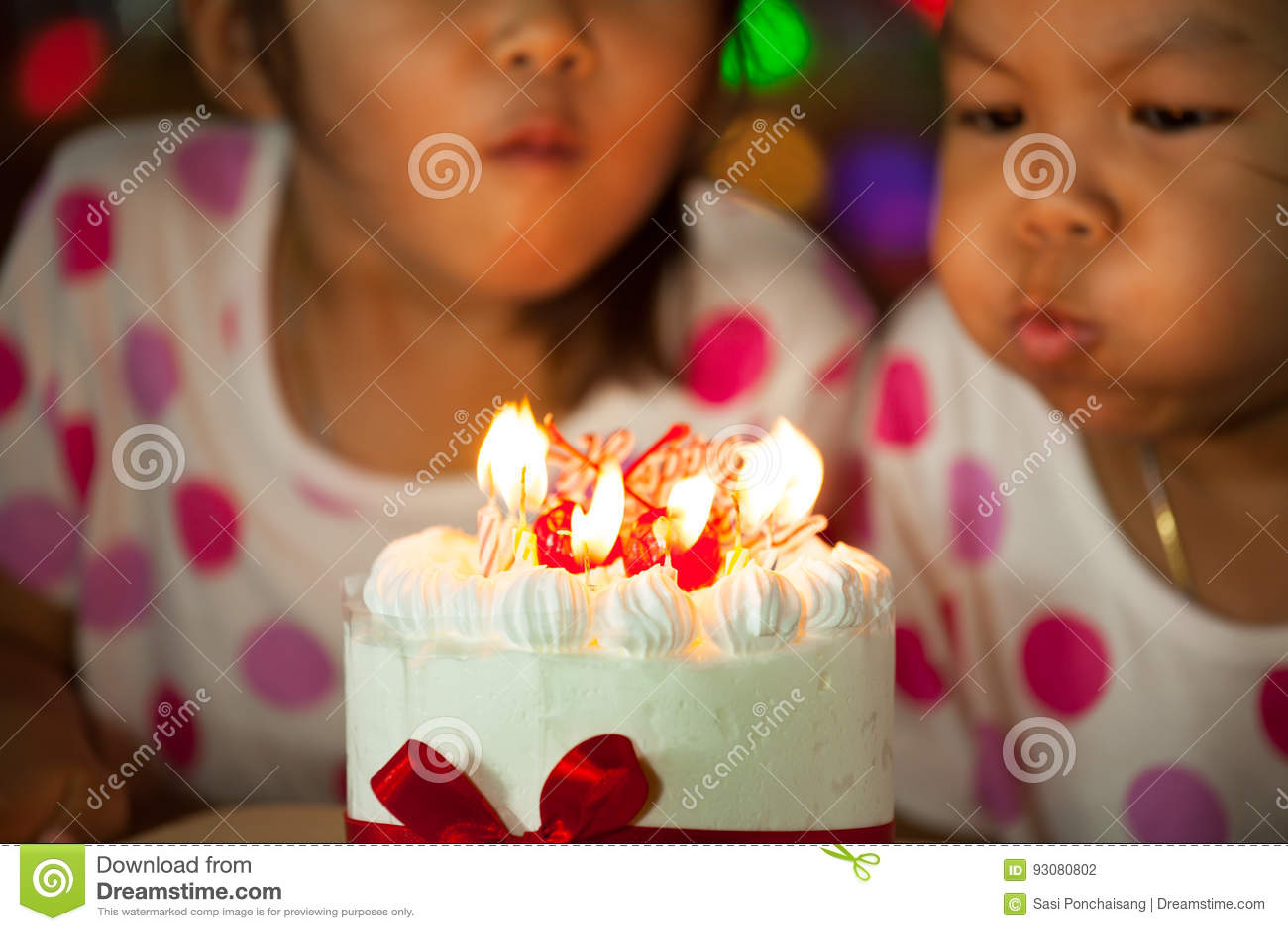 Happy Twin Two Asian Little Girls Celebrating Birthday Stock Photo