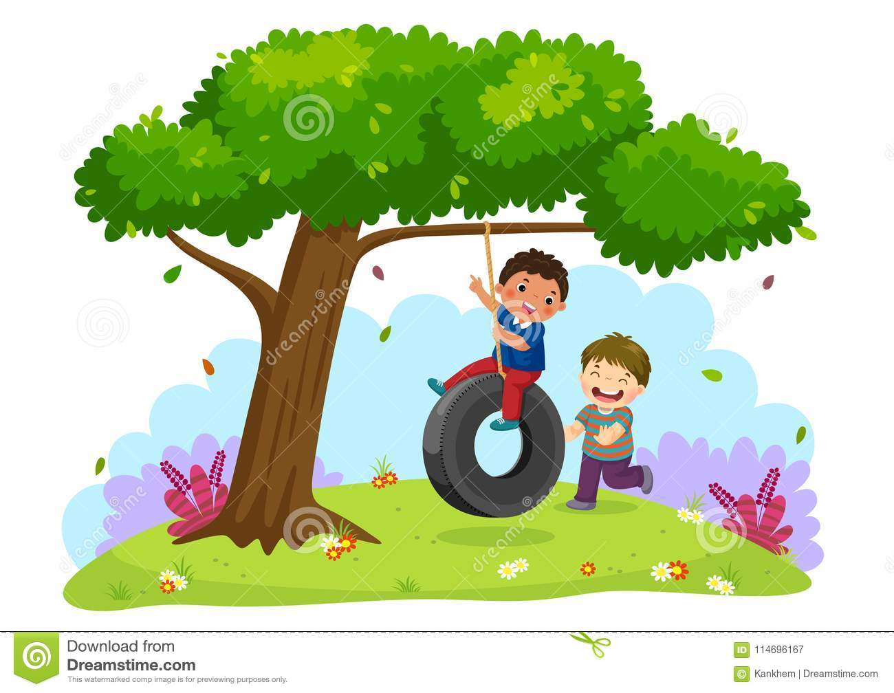 Happy two boys playing tire swing under the tree