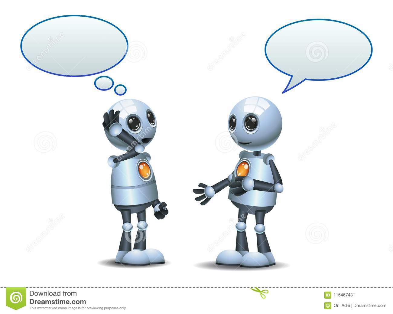 happy two droid little robot conversation on isolated white