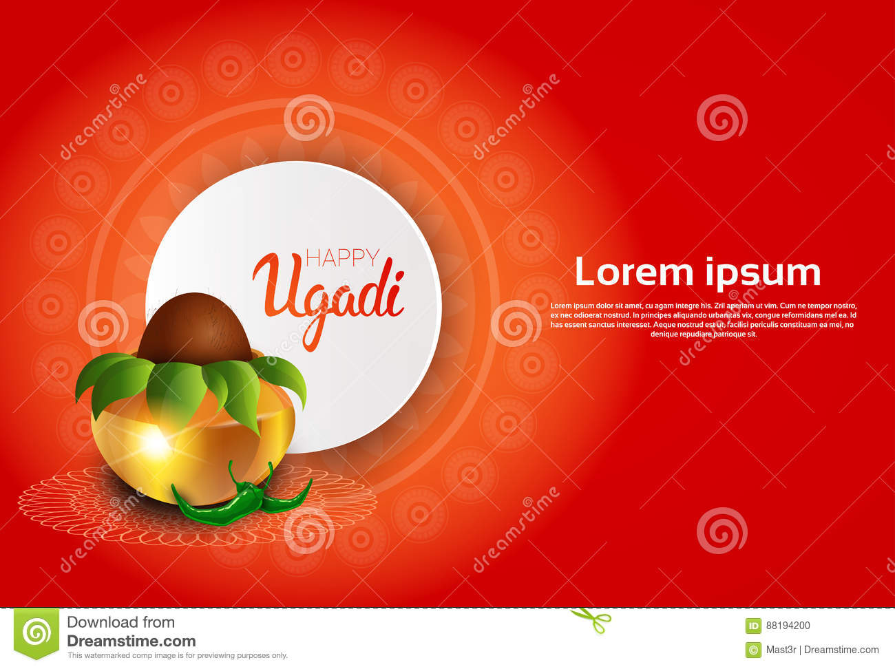 Happy ugadi and gudi padwa hindu new year greeting card holiday pot download happy ugadi and gudi padwa hindu new year greeting card holiday pot with coconut stock m4hsunfo