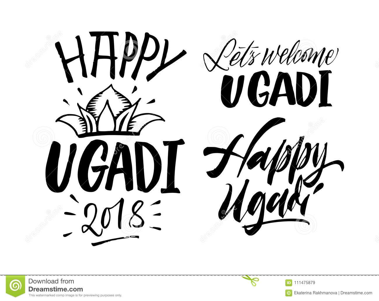 Happy Ugadi Handwritten Lettering Set. New Year`s Day Of Hindu C ...