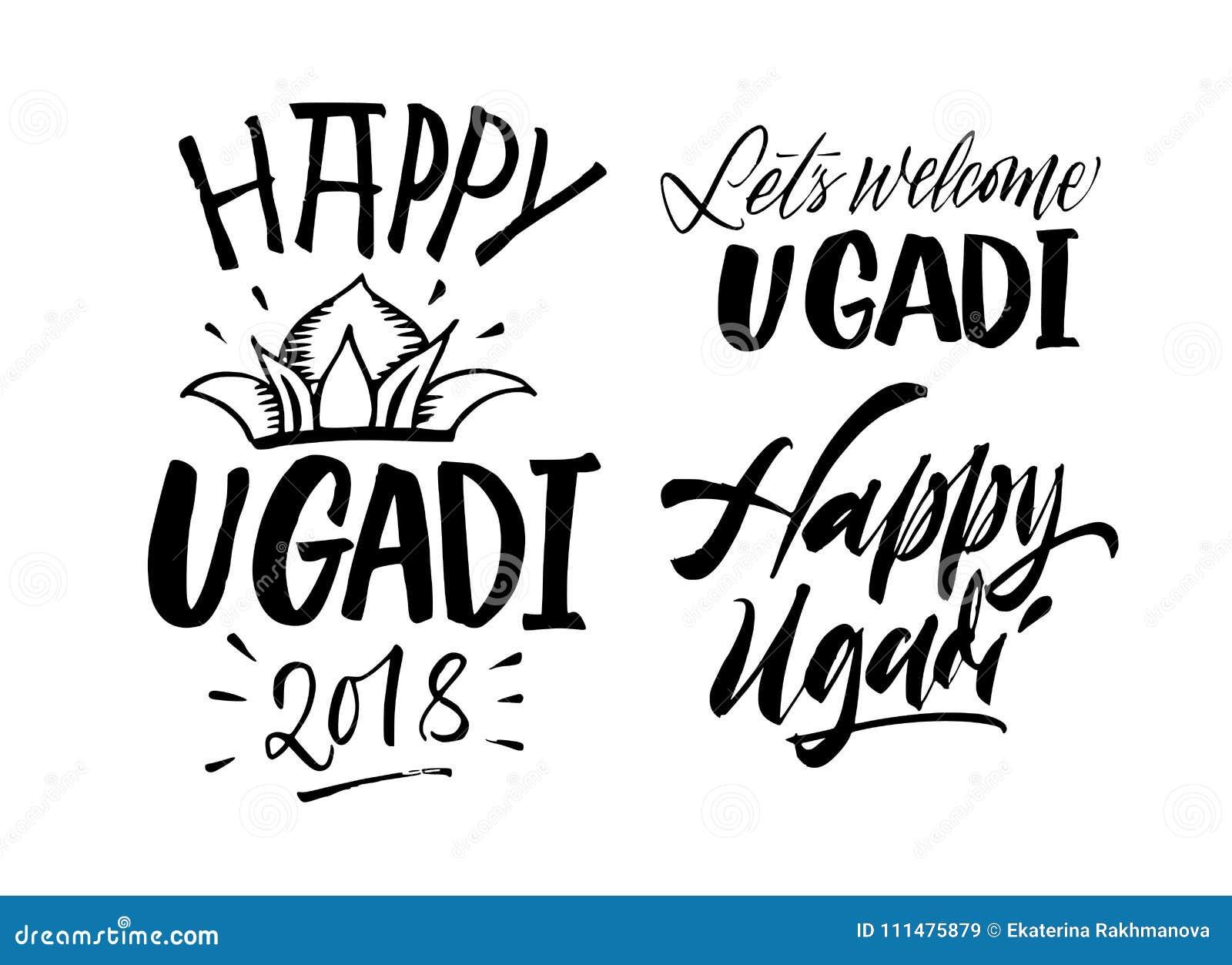 Happy Ugadi Handwritten Lettering Set. New Year`s Day Of Hindu C ...