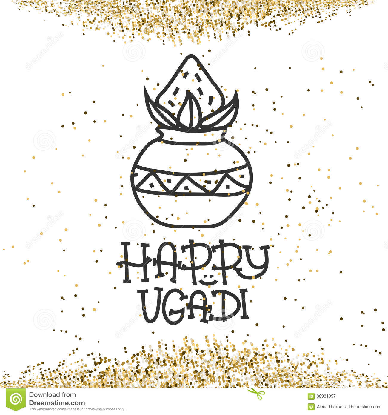 happy ugadi the hindu new year greeting card template for holiday