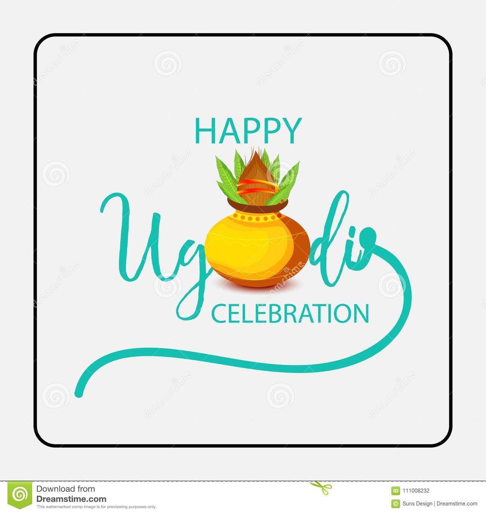 Happy Ugadi Hindu New Year. Stock Illustration - Illustration of ...