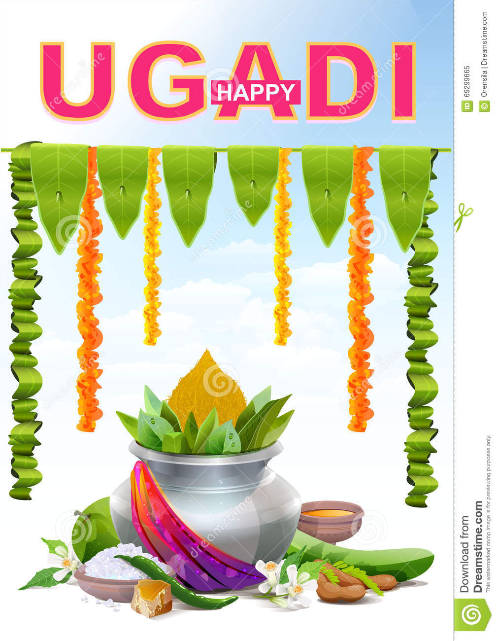Happy ugadi template greeting card for holiday ugadi silver pot happy ugadi template greeting card for holiday ugadi silver pot kristyandbryce Images