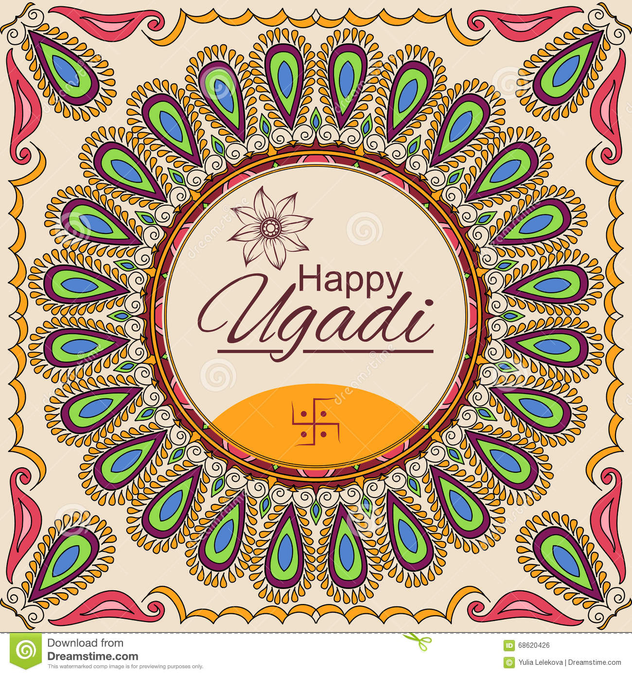 Happy ugadi vector greeting card with mandala frame indian lunar happy ugadi vector greeting card with mandala frame indian lunar new year celebration kristyandbryce Images