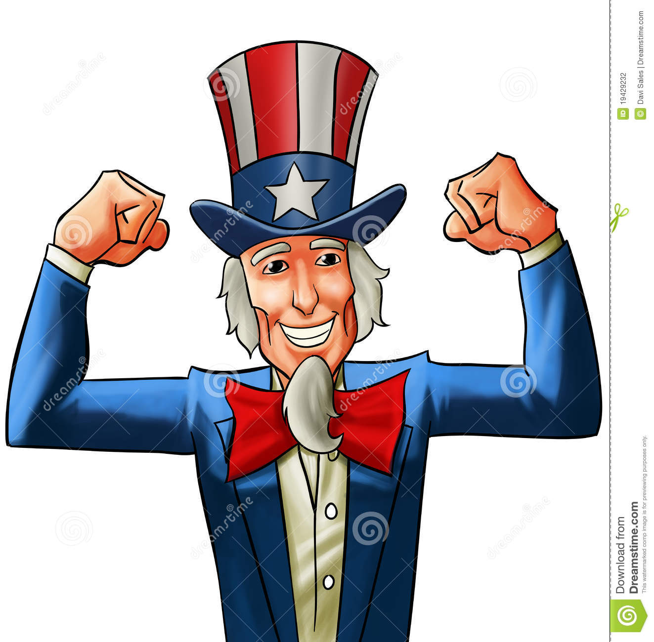 Uncle sam very happy, he got his fists up.