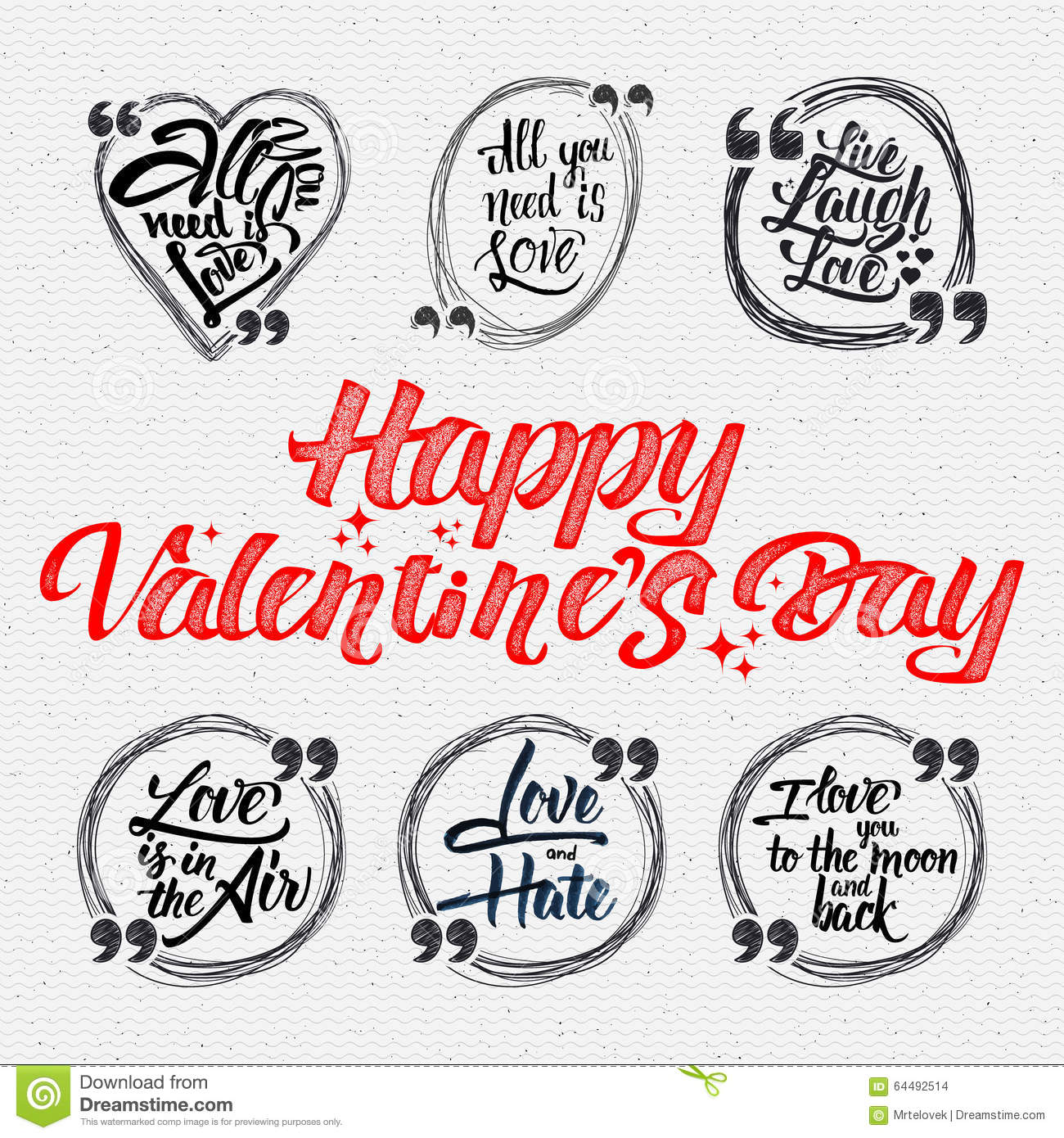Happy Valentine Is Day Calligraphic Quotes About Stock Vector