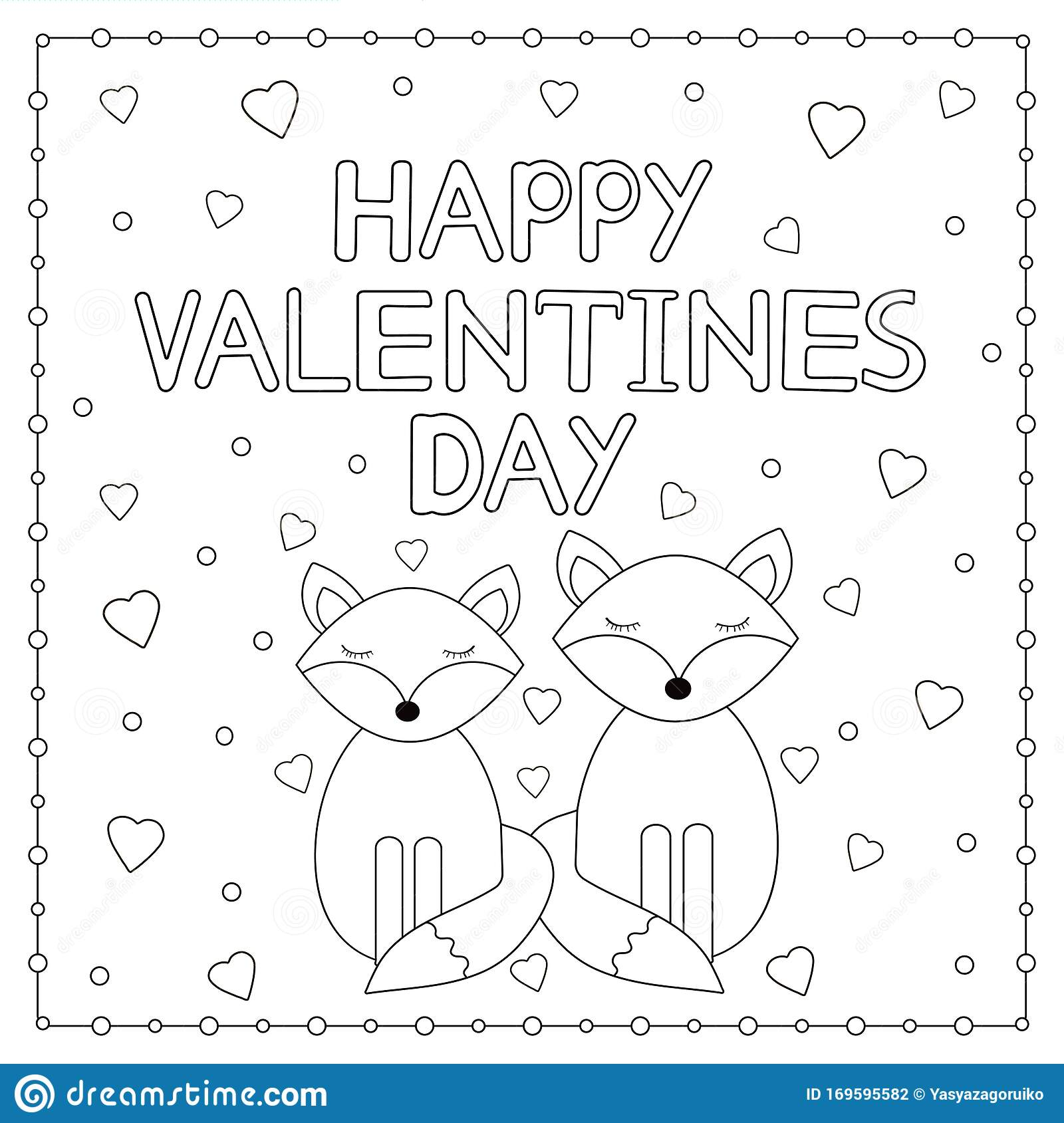 Happy Valentine Day Card With Cute Foxes And Hearts ...
