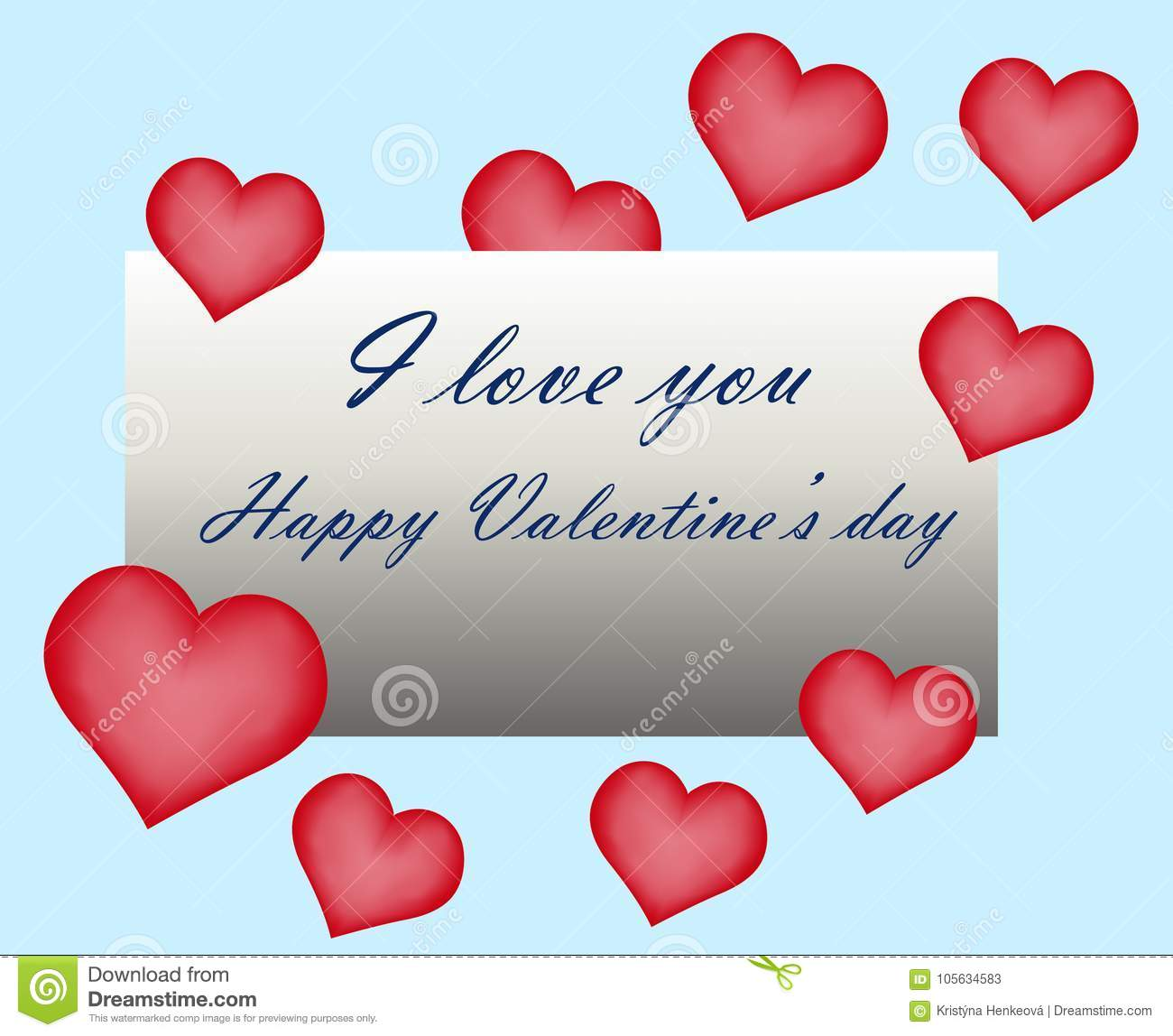 Happy Valentine Day Greeting Card Hand Written Sign Text I Love