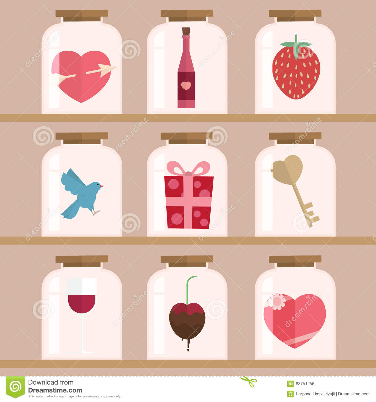 Happy Valentine Day Icon Set Stock Vector Illustration Of Lamp