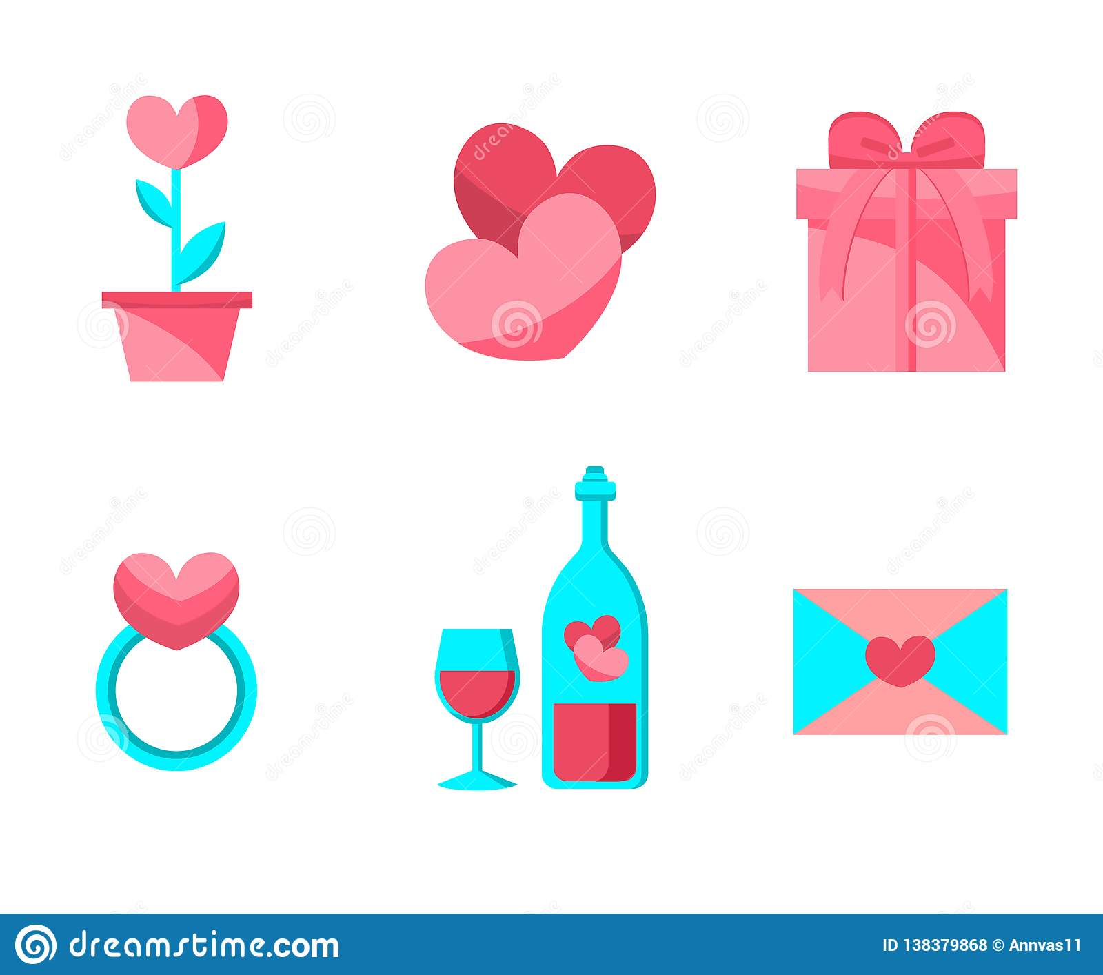 Happy Valentine Day Objects Set . Flat Design . Collection of Love Wedding Items.