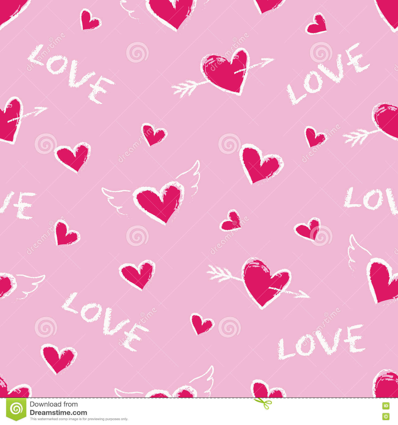 Happy valentine day seamless pattern vector cute hand drawn red hearts stock vector - Cute valentines backgrounds ...