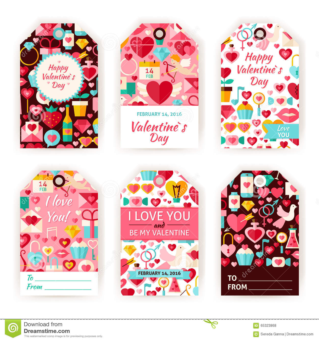 Happy Valentine Day Vector Gift Tag Template Flat Set Vector – Gift Tag Template