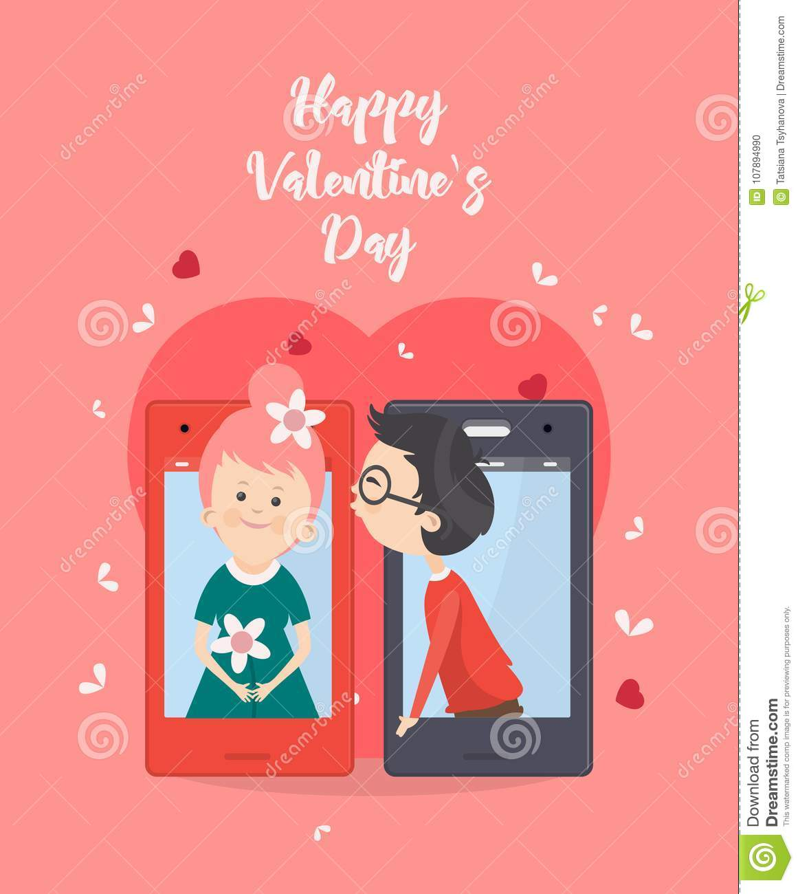 happy valentine day vector illustration with kiss selfie of young
