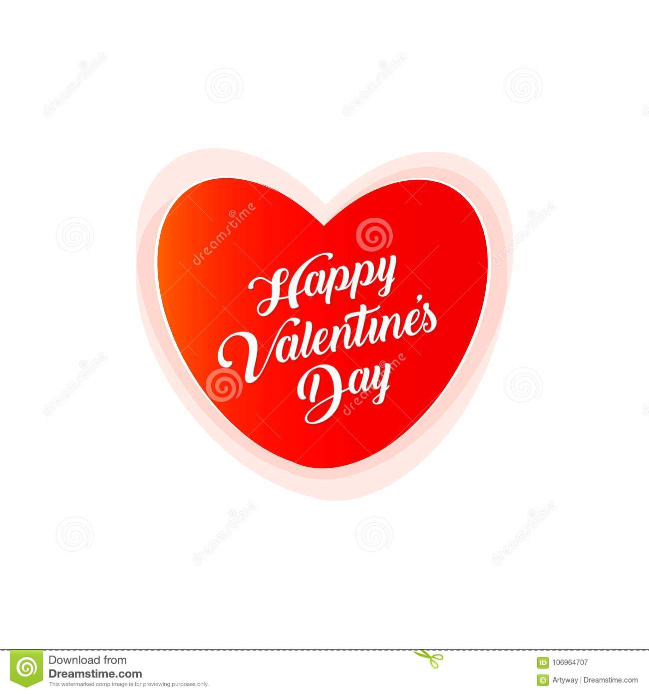 Happy Valentine Day Vector Postcard Love Symbol Red Heart With