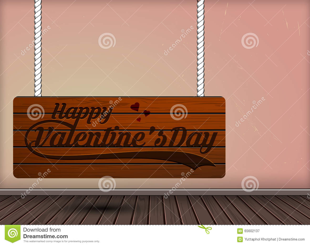 Happy Valentine Day Wooden Engraving On Hanging Signs Design Stock