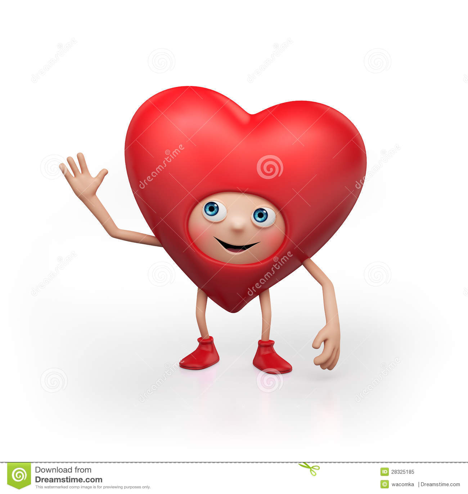 Cartoon Characters Valentines Day : Happy valentine heart cartoon character royalty free stock