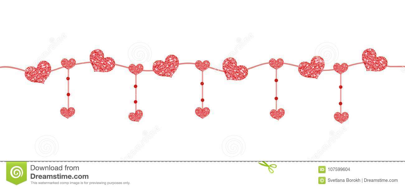 Happy Valentine`s day banner with hearts made of glitter. Brilliant horizontal borders. Romantic shining sparkling