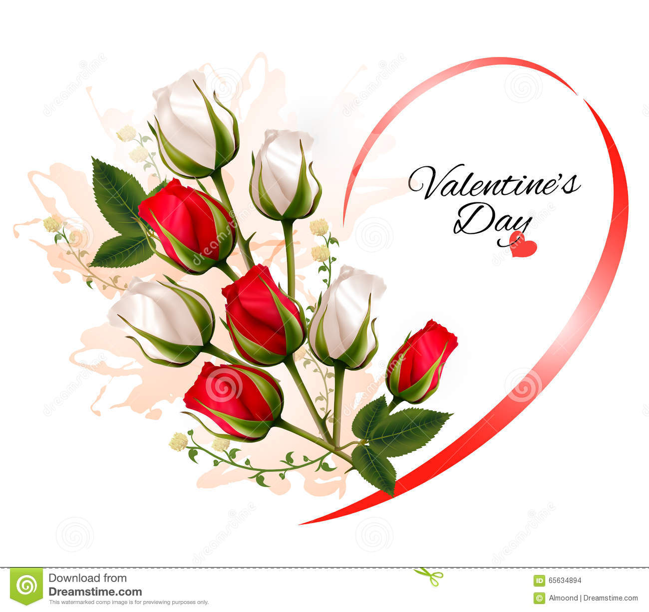 Happy Valentines Day Beautiful Background With Roses Stock Vector