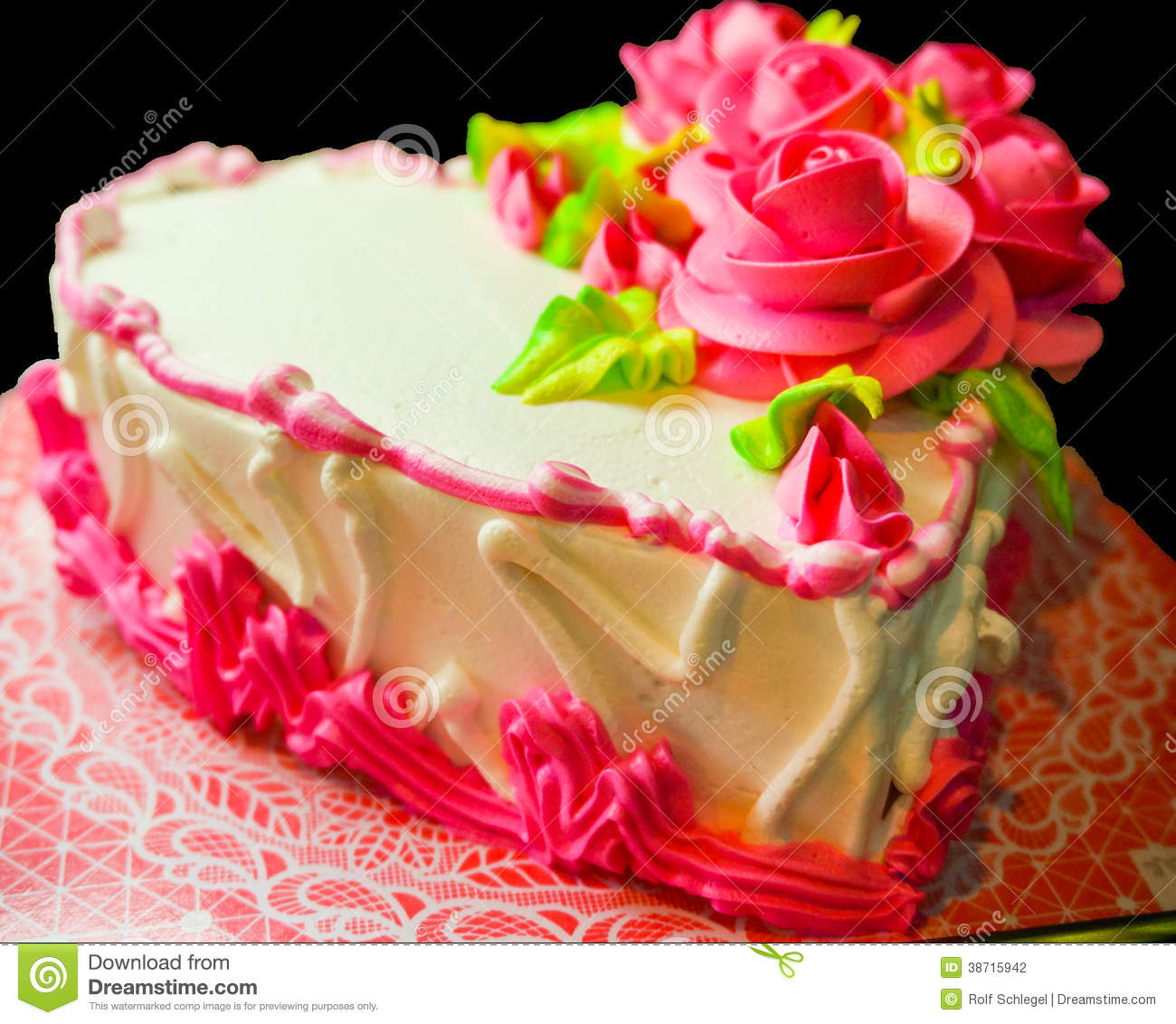 Happy valentine's day or birthday cake with rose decor. black ...