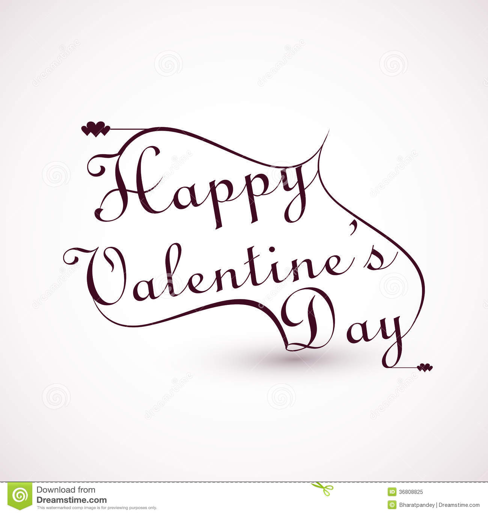 Happy Valentines Day Calligraphic Font Stock Vector Illustration