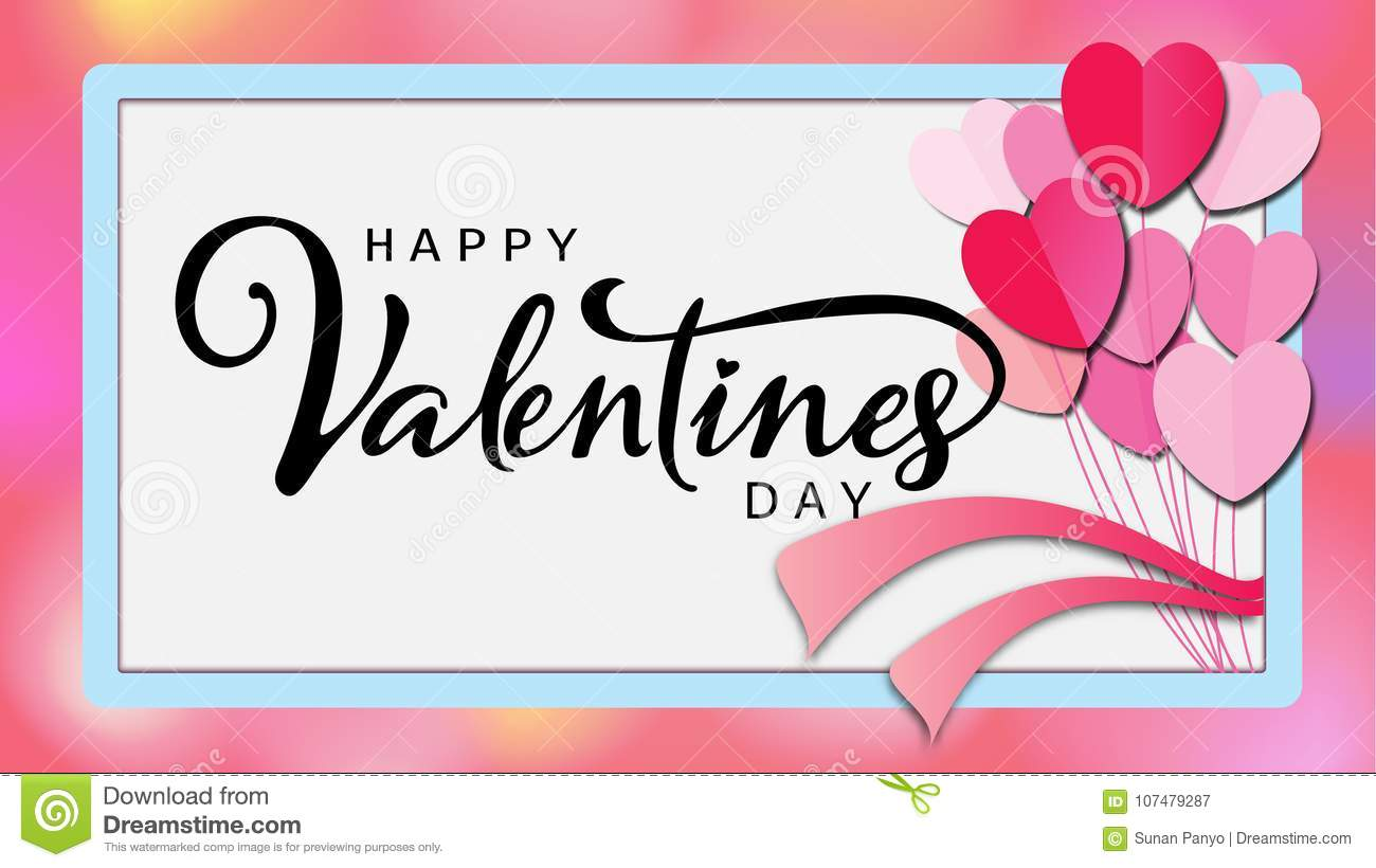 Happy Valentine`s day calligraphic Inscription decorated with red heart and pink background. illustration. brochure, flyer,