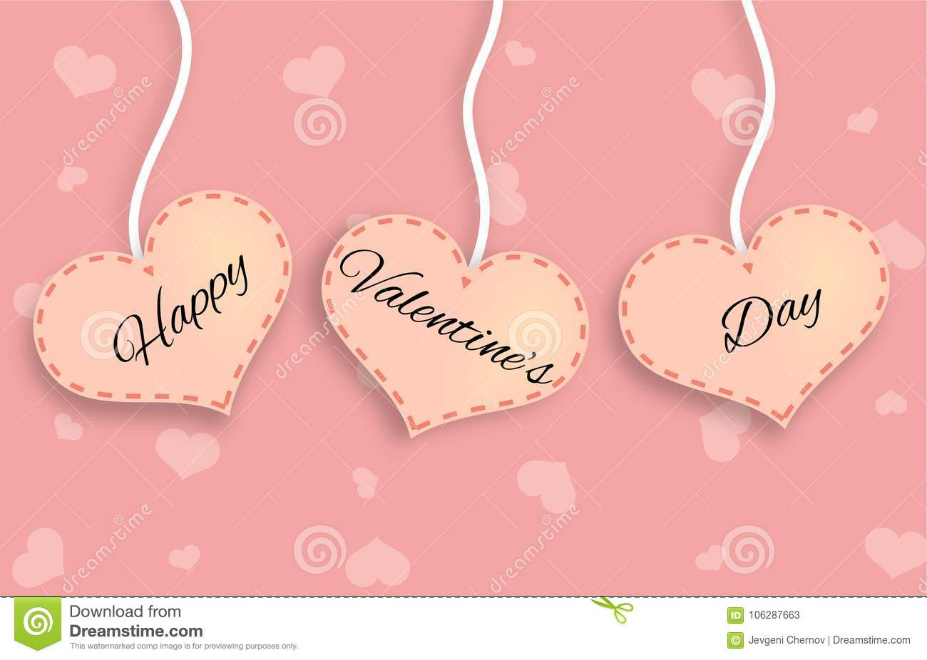 Three Pink Hearts with Happy Valentine`s Day Lettering