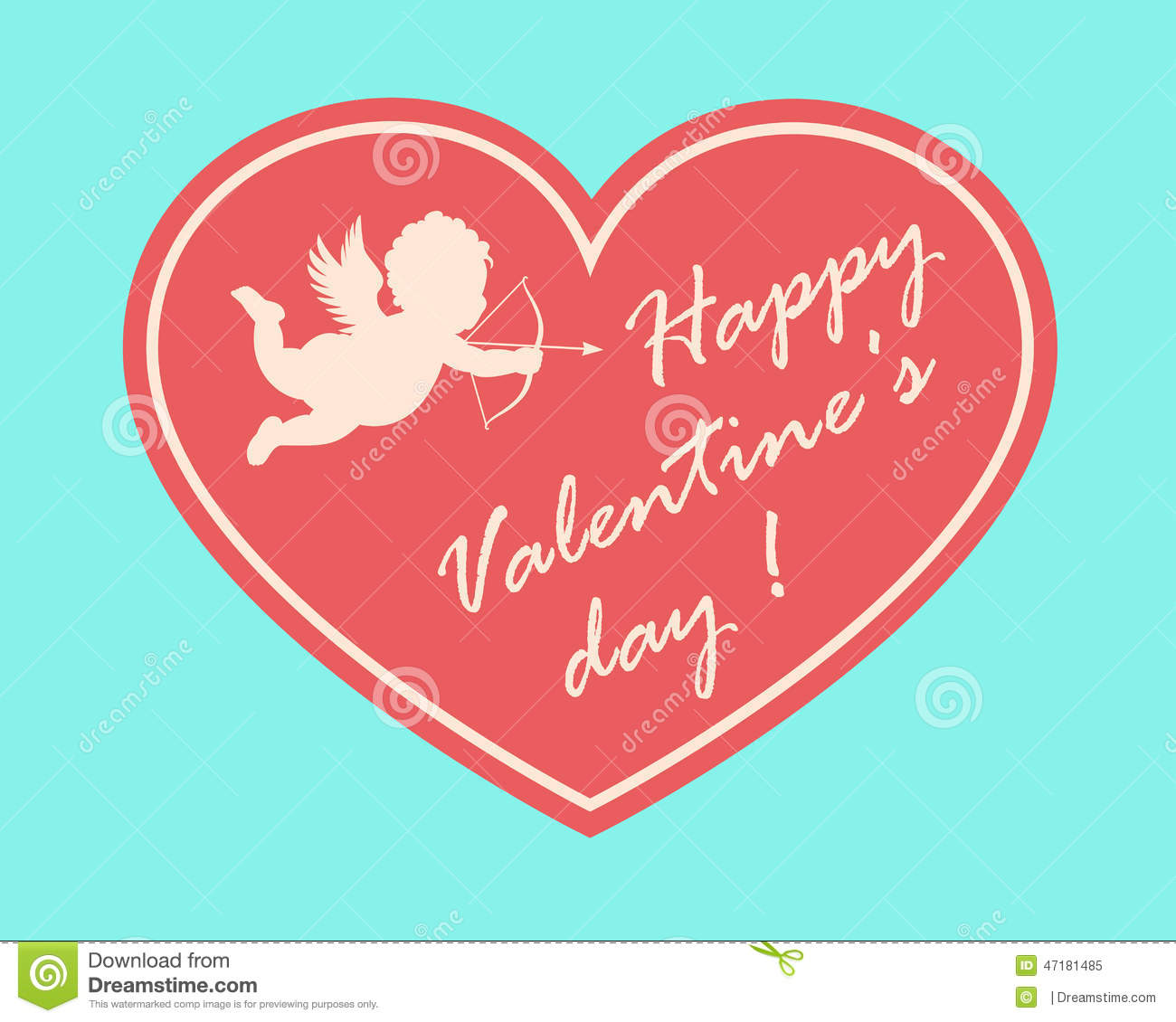 Happy Valentine S Day Card With Cupidon Silhouette