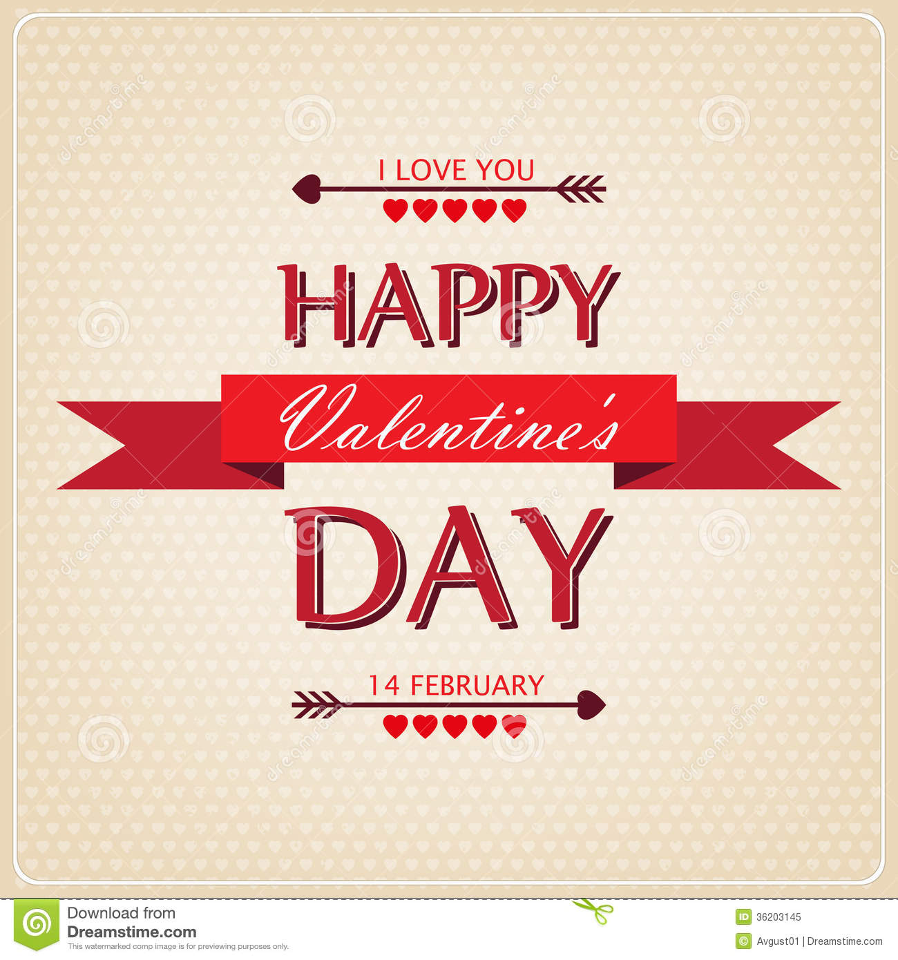 Happy Valentines Day Card With Ornaments Hearts A Royalty Free – Beautiful Valentine Day Cards