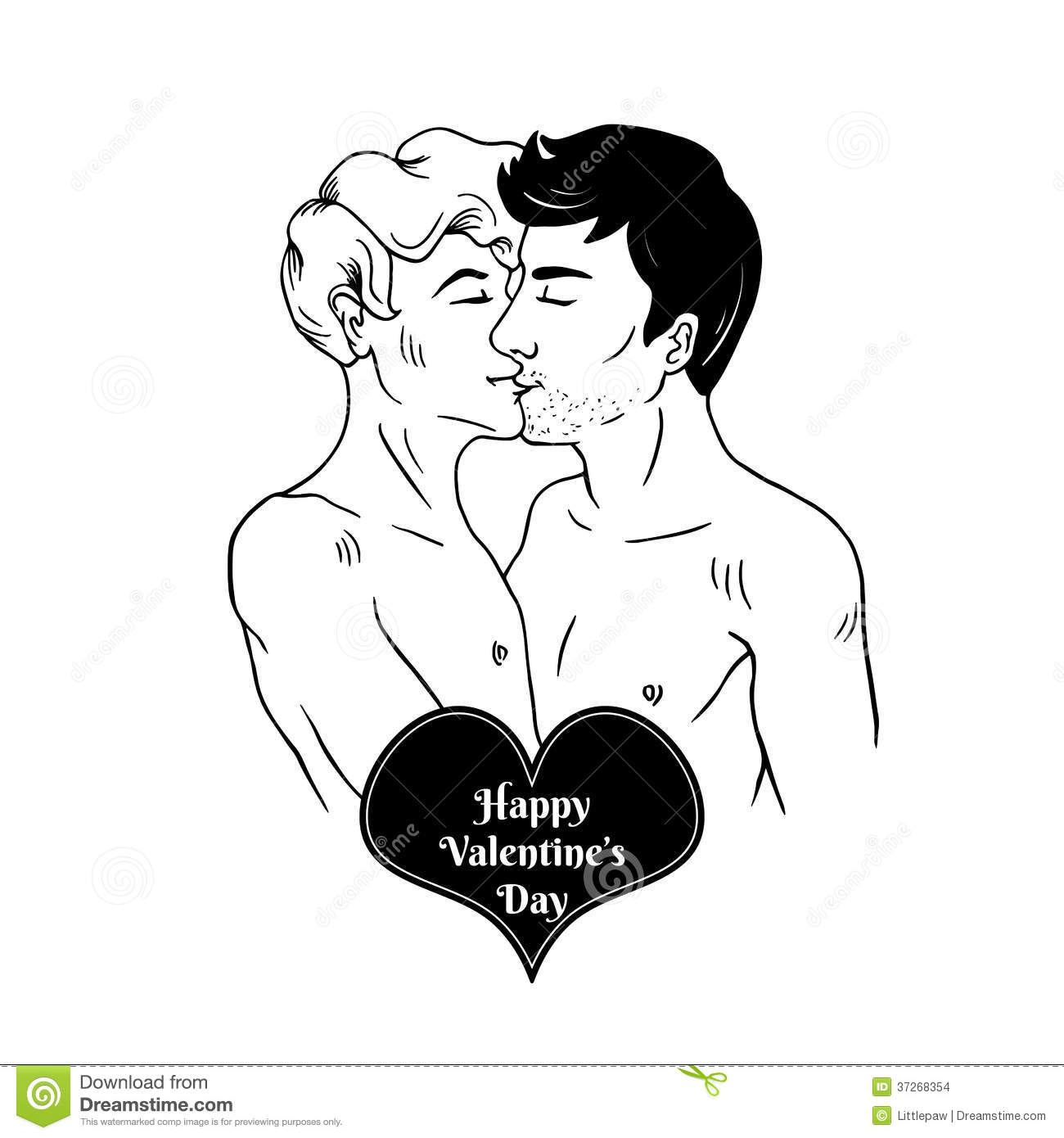 happy valentine s day card with two gay men kissing - Gay Valentines Cards