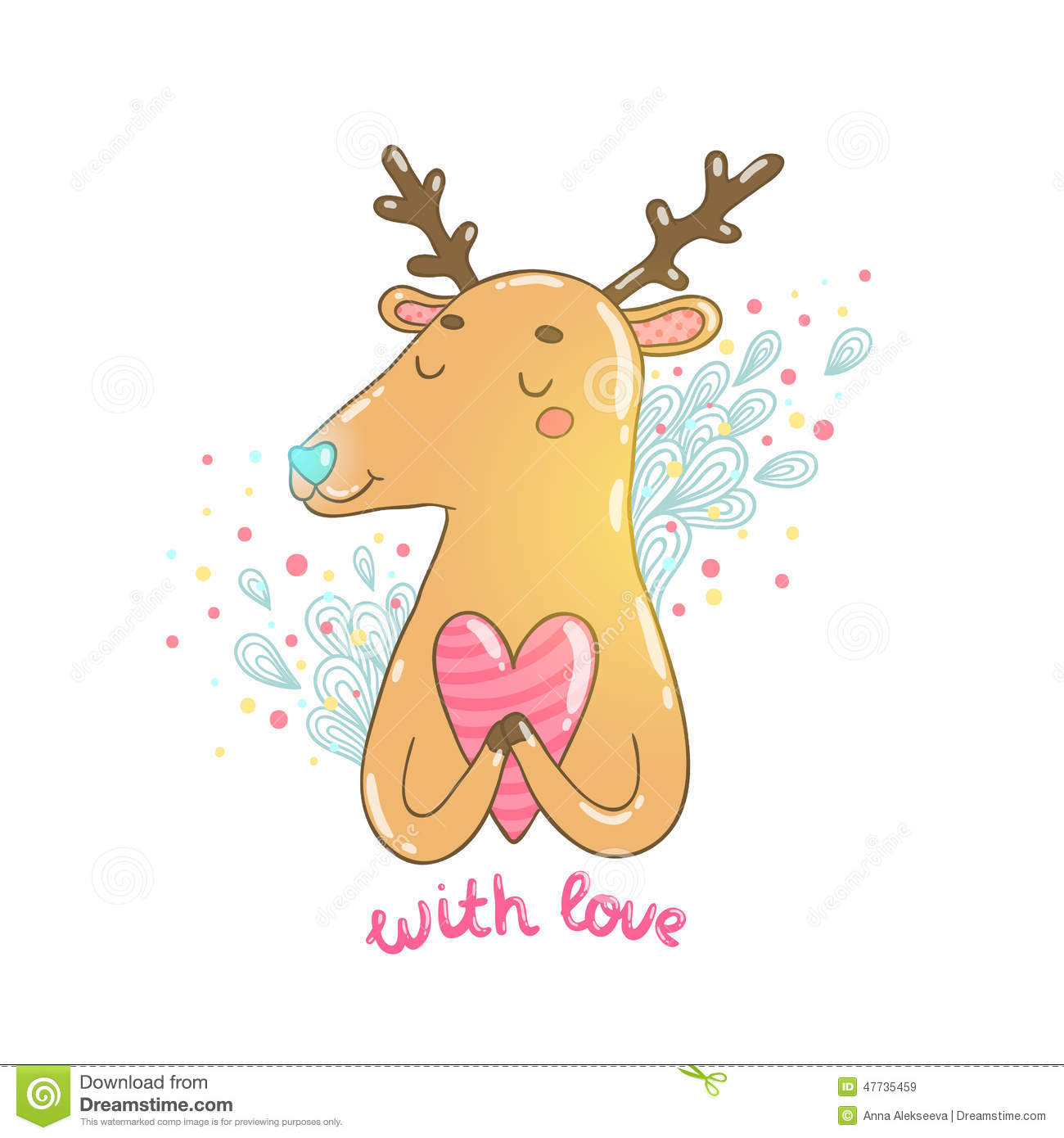 happy valentine u0027s day cartoon hand drawn deer stock vector image
