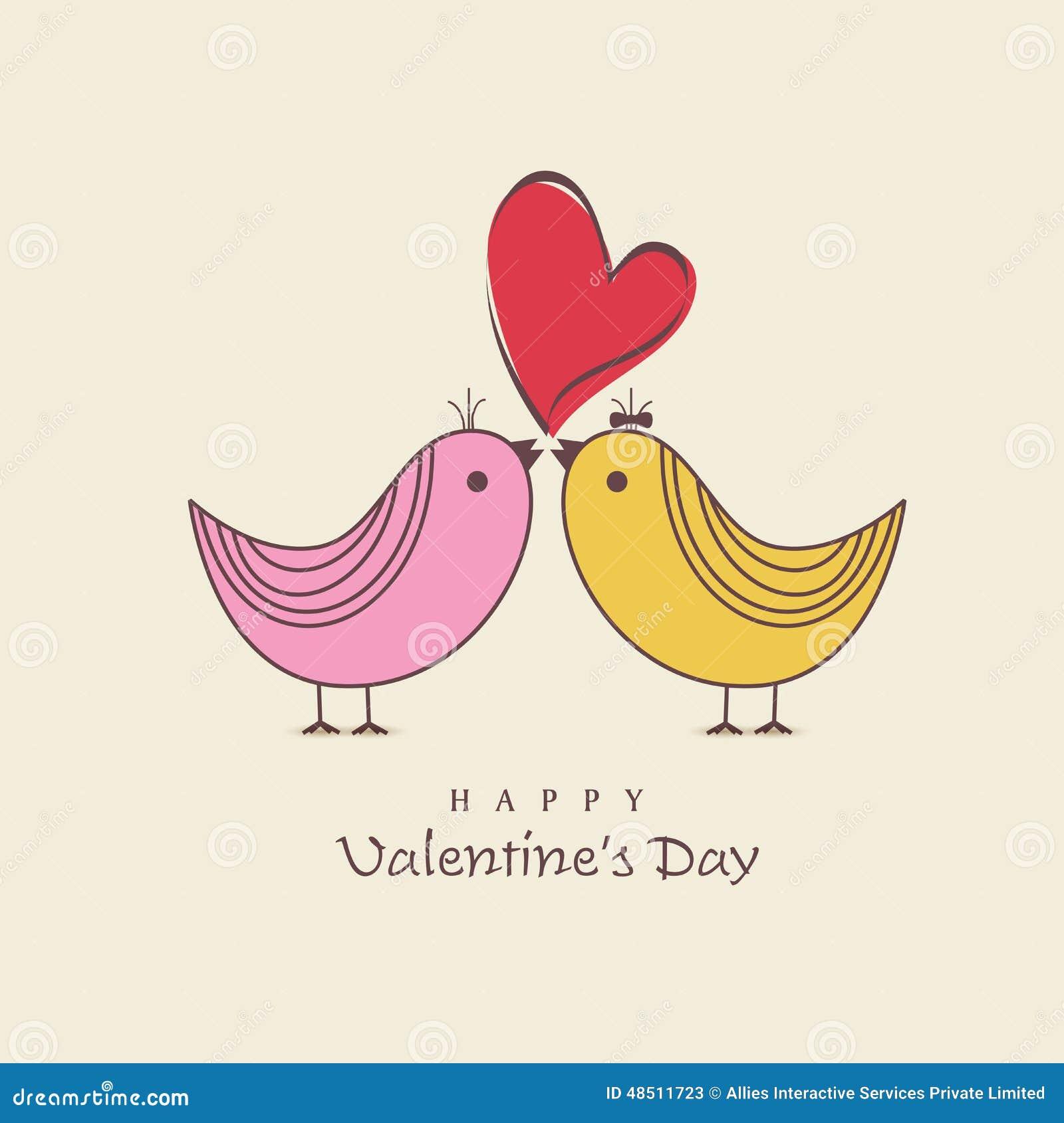 Happy Valentines Day Celebration With Cute Love Bird Stock Illustration