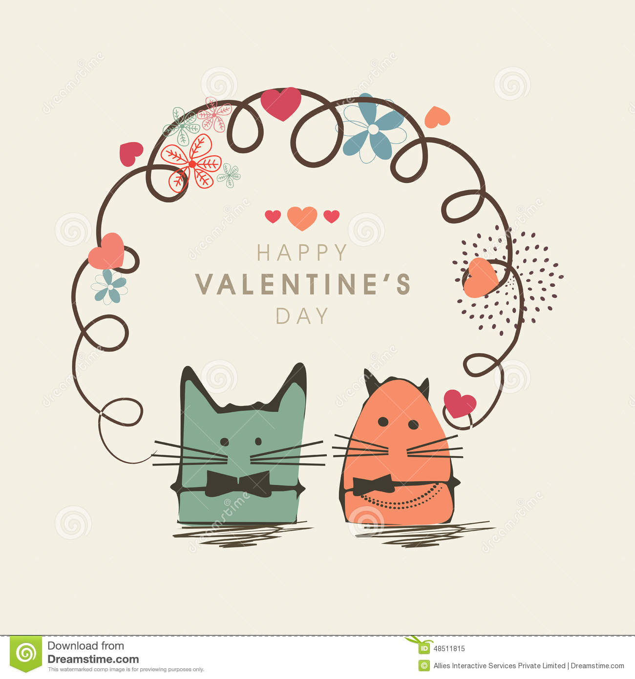 Happy Valentines Day Celebration With Kiddish Cartoon Stock