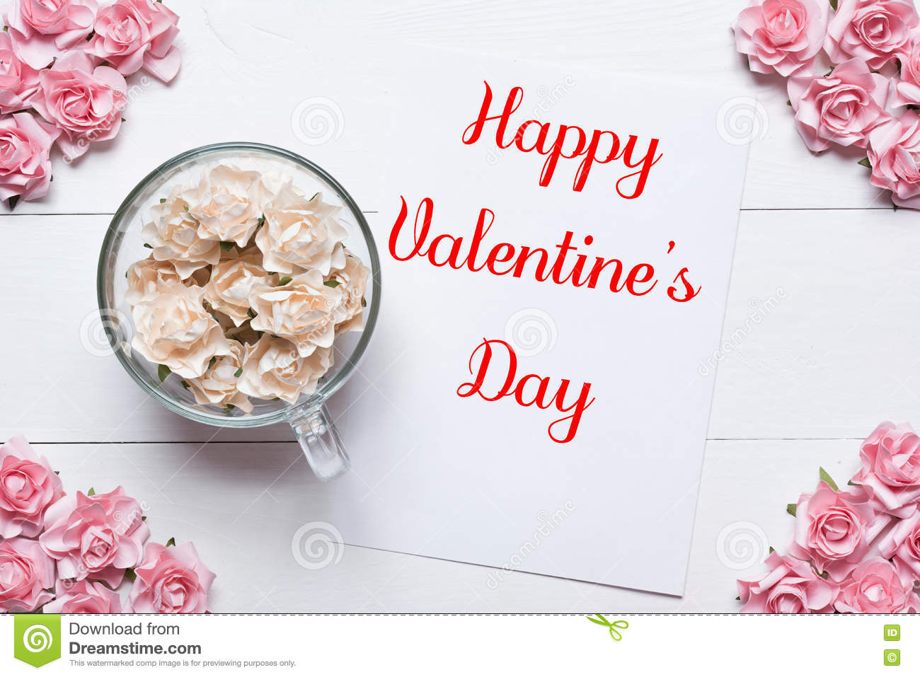 Happy Valentine S Day Concept Pink And White Roses Background Stock