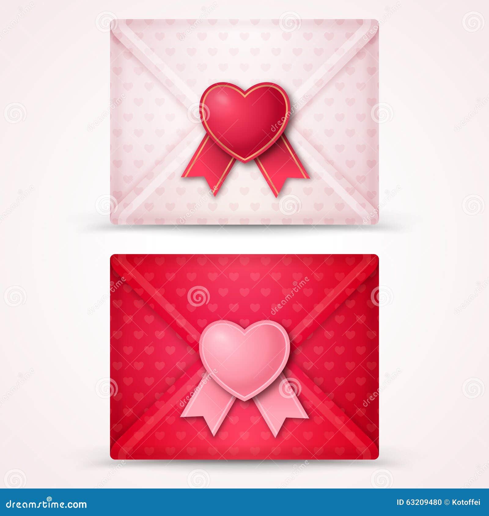 Happy Valentine S Day Envelopes Stock Vector Illustration Of