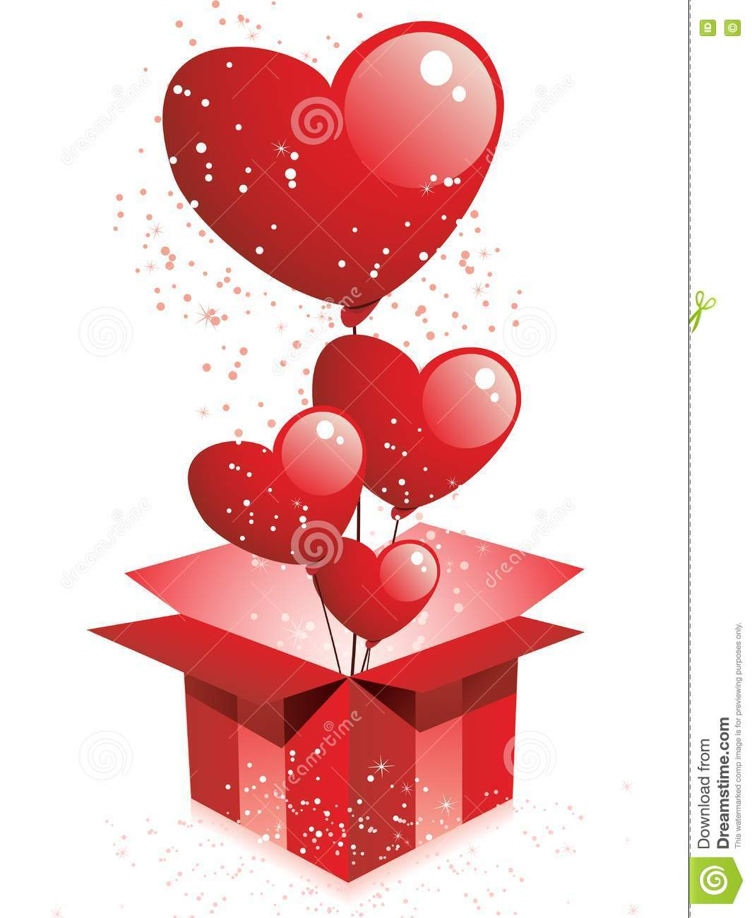Happy Valentines Day Gift With Balloons Stock Vector
