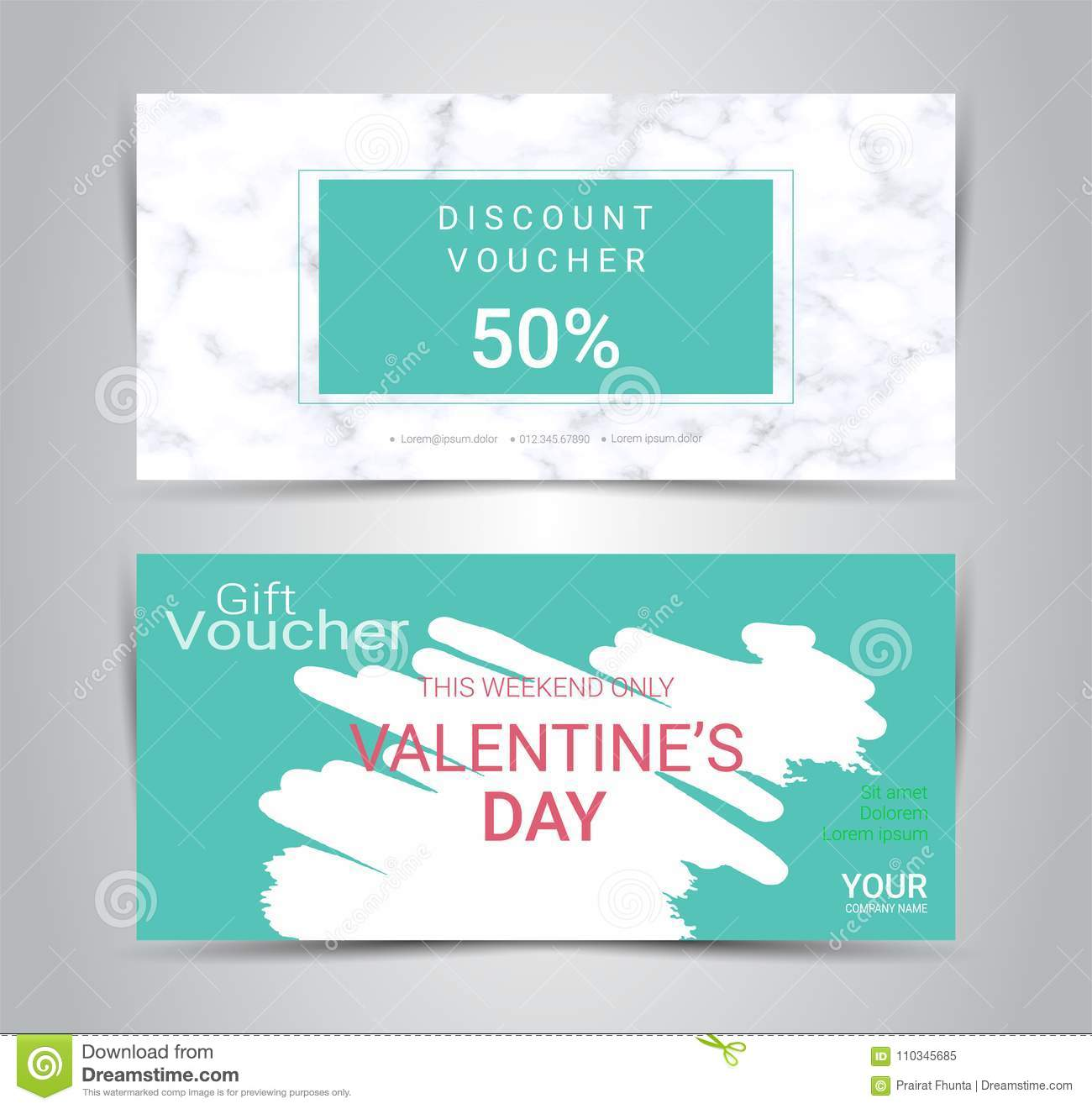Happy Valentine S Day Gift Certificates And Vouchers Stock Vector