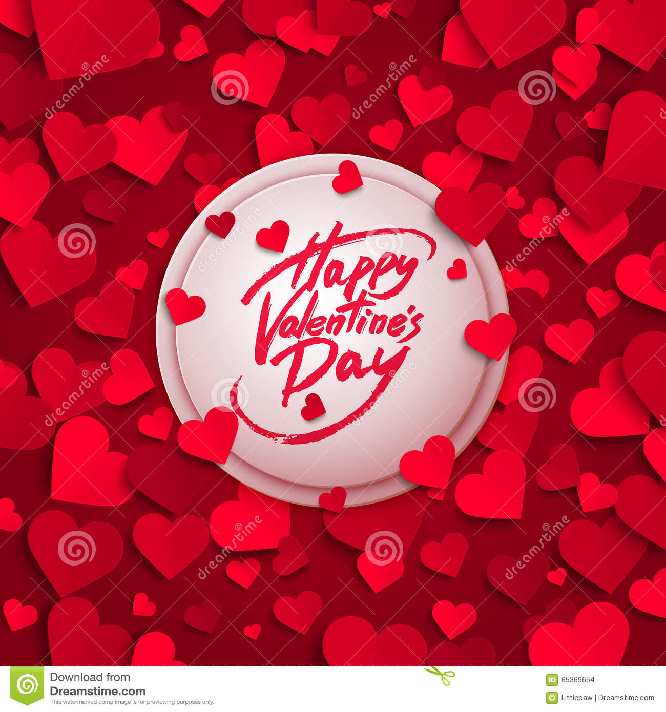 Happy Valentine s Day greeting card, brush pen lettering and red paper hearts