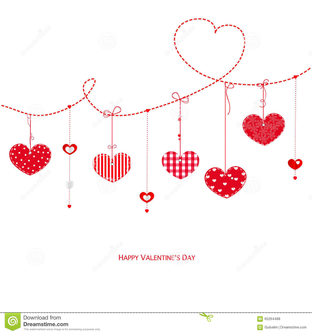 happy valentine u0027s day greeting card with hanging hearts vector
