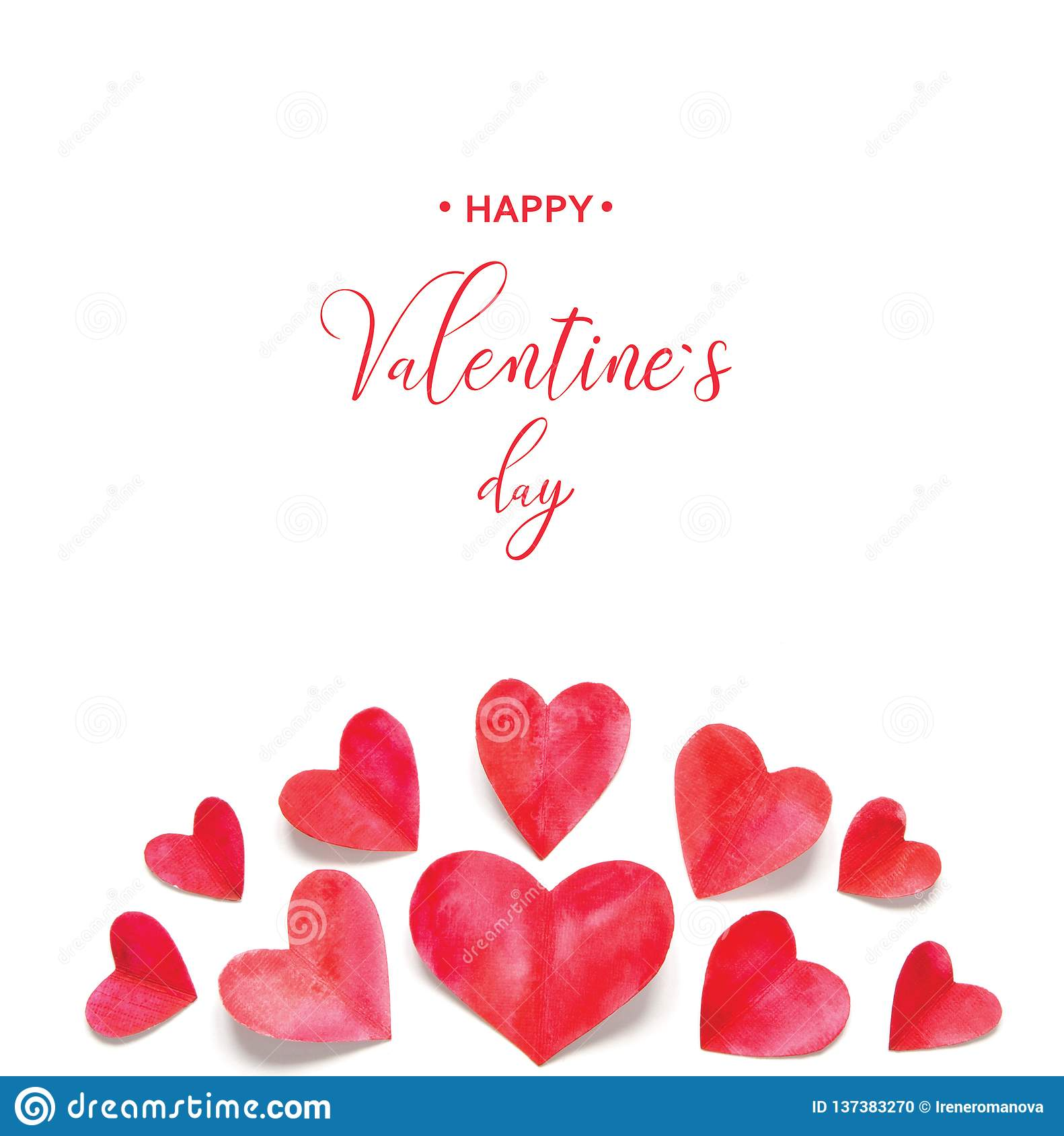 Valentine`s Day greeting card. Watercolor hearts