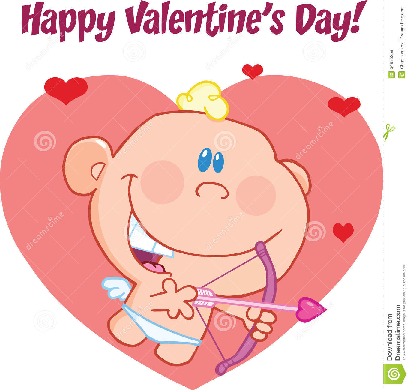 Happy Valentine S Day Greeting With Cute Baby Cupid Flying With Bow