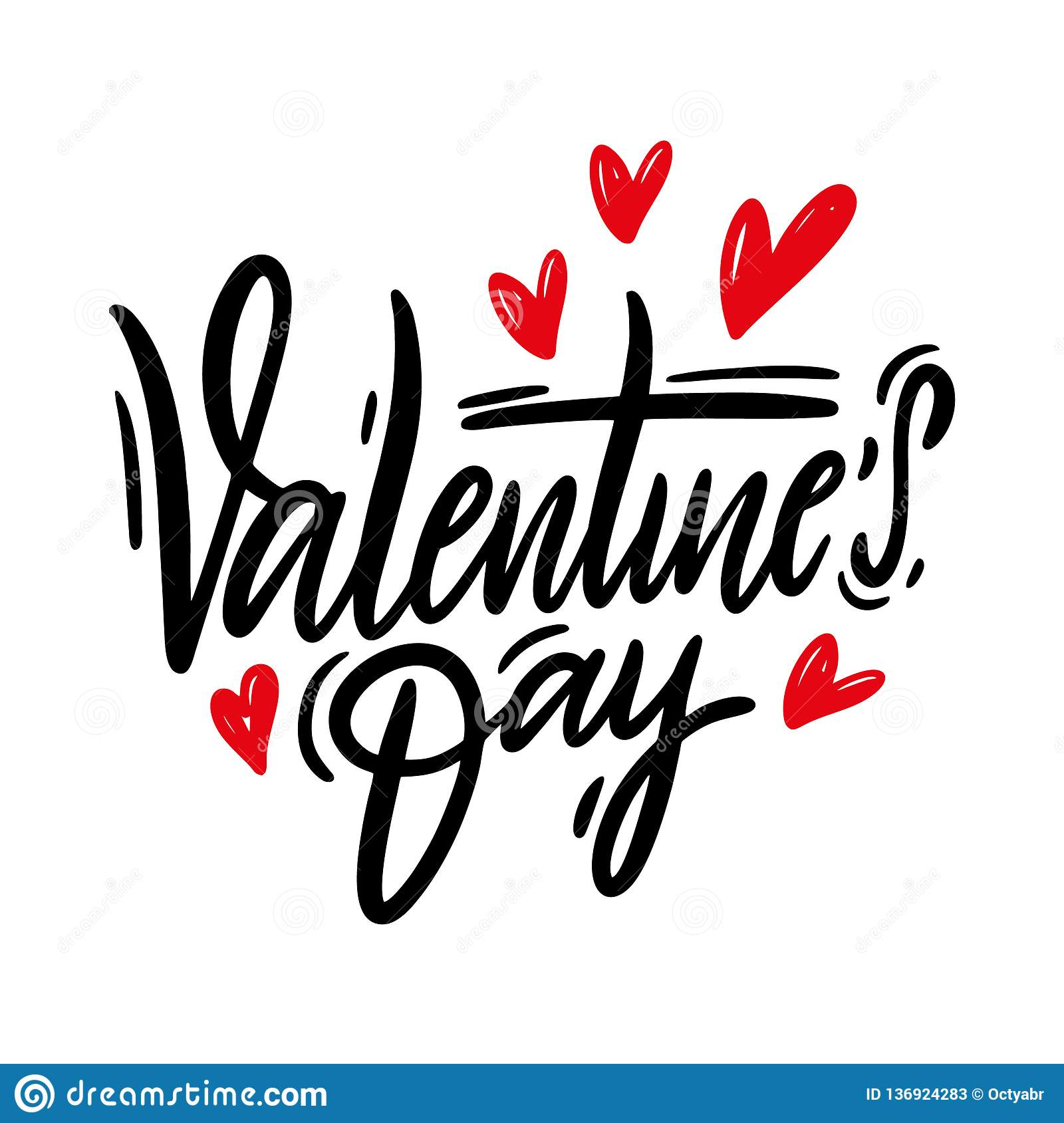 Happy Valentine`s Day hand drawn vector lettering. Isolated on white background