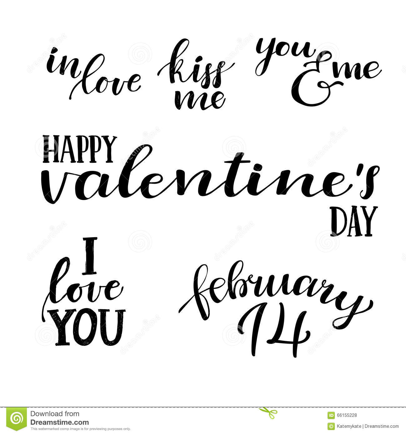 Happy Valentine S Day Hand Lettering Vintage Quotes Stock Vector